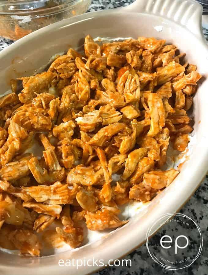 Buffalo chicken wing dip in dish