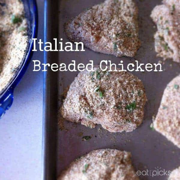Easy Italian breaded chicken recipe is made by dipping in milk, then bread crumb mixture and baked to perfection! Great as left overs too!