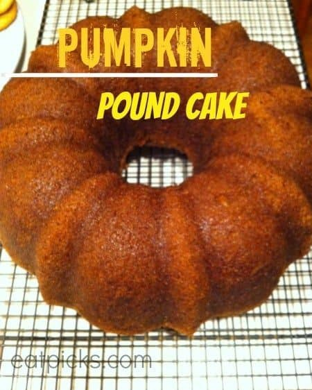 pumpkin pound cake on rack