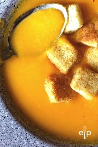 low fat butternut squash soup with croutons