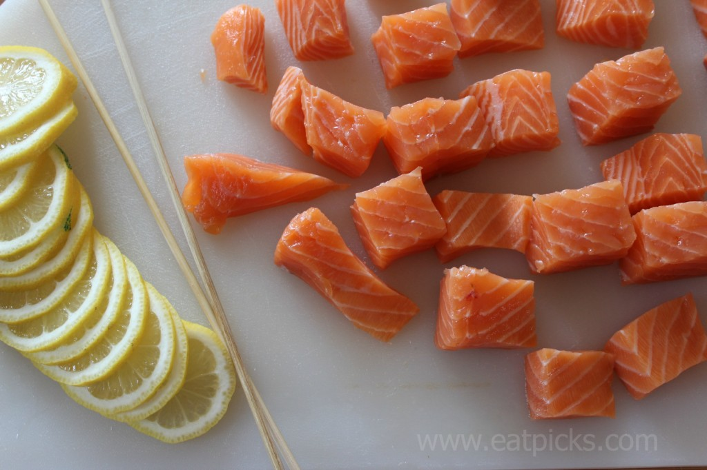 salmon and lemon slices eatpicks