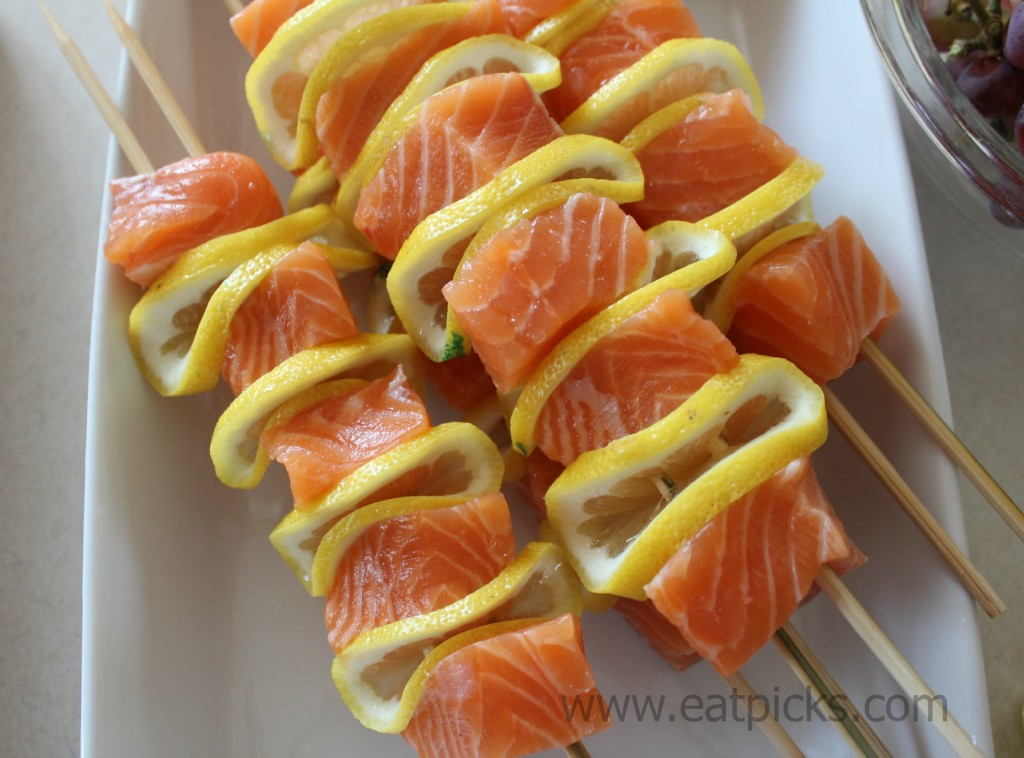 salmon kebobs and lemon 2 sticks eatpicks
