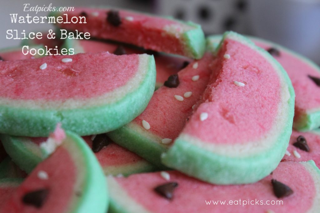 watermelon slice & bake cookies with chocolate chip and sesame seed decorations