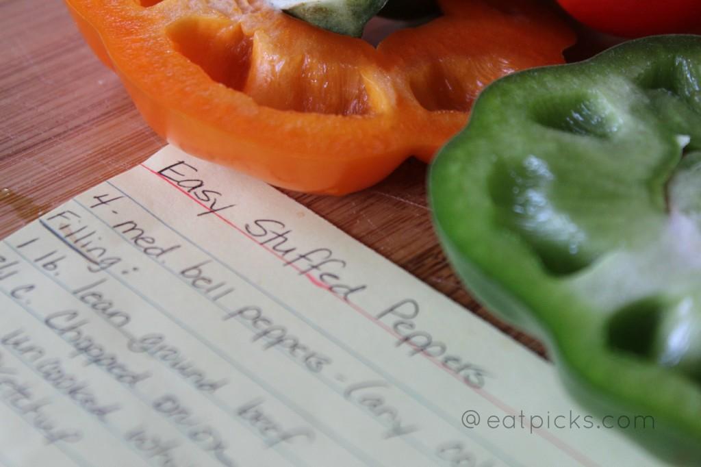easy stuffed peppers recipe card eatpicks.com