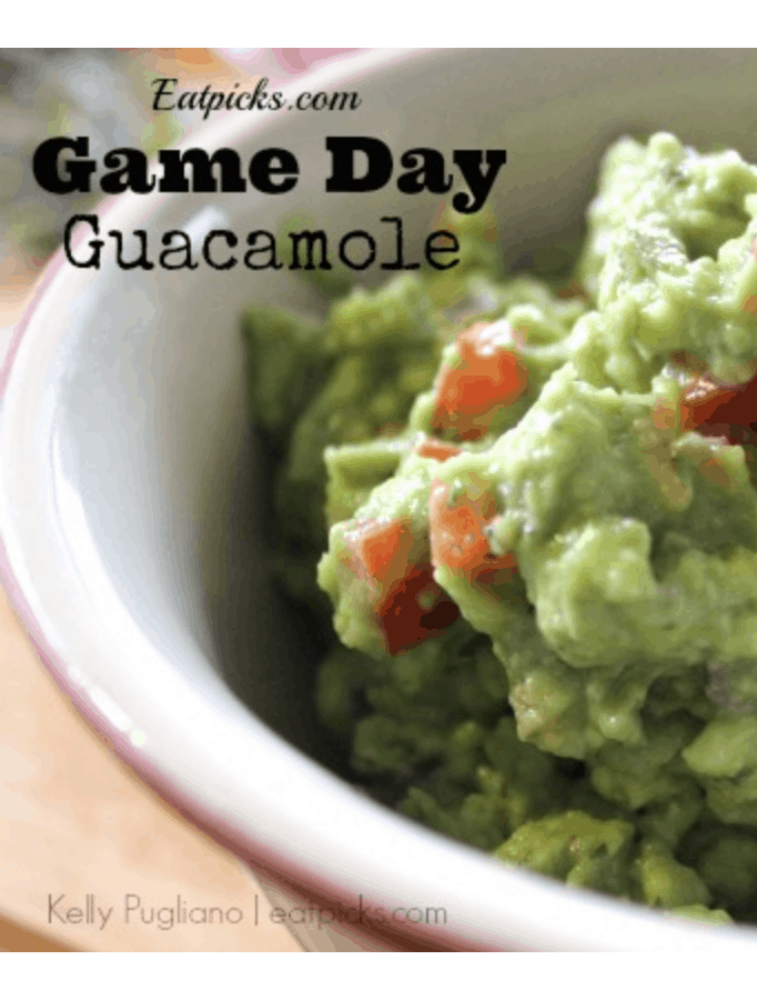 Game Day Guacamole is a great dip to have on hand for any gathering! Perfect party appetizer or evening snack. Full of delicious avocados. #easyrecipe #avocados #appetizer #partyfood #tailgate