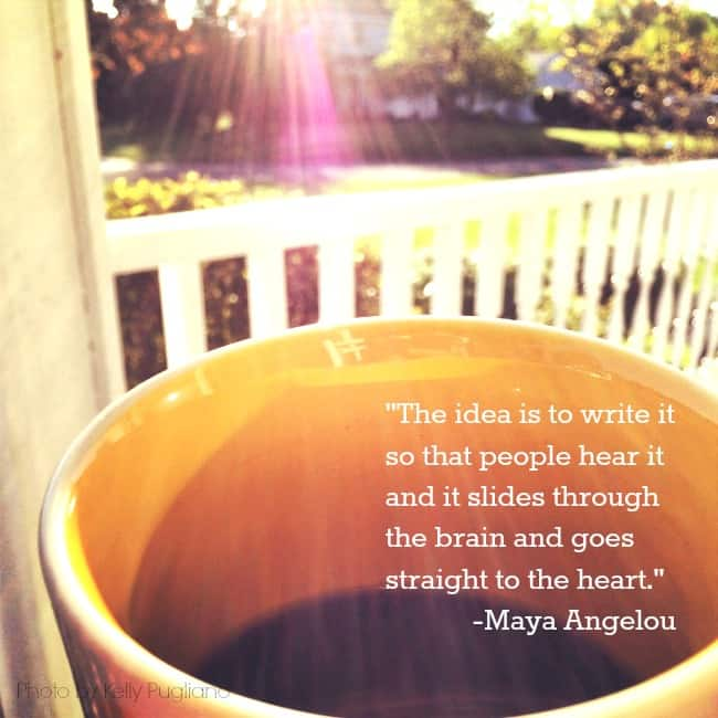 Maya Angelou writing quote on cup