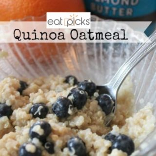 Quinoa peanut butter and blueberry in bowl is a great breakfast recipe to try.