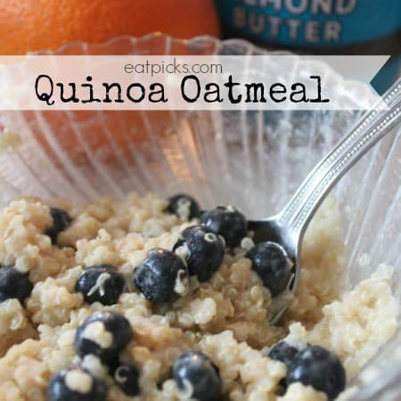 quinoa oatmeal in bowl with berries