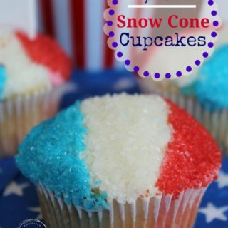 Snow Cone decorated cupcake in red white and blue sprinkles