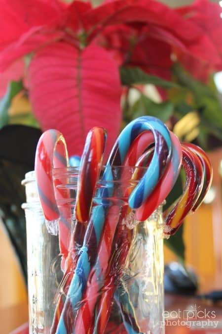 candy canes in glass jar