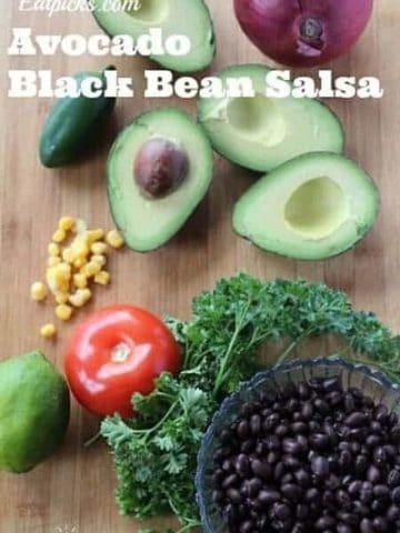 black bean avocado salsa with corn