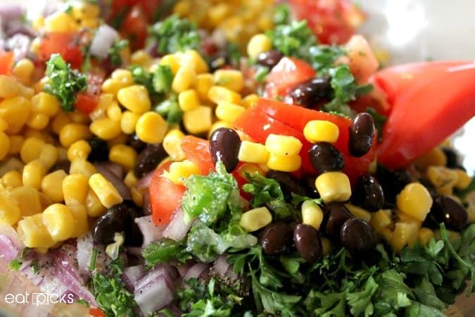ingredients for avocado black bean salsa