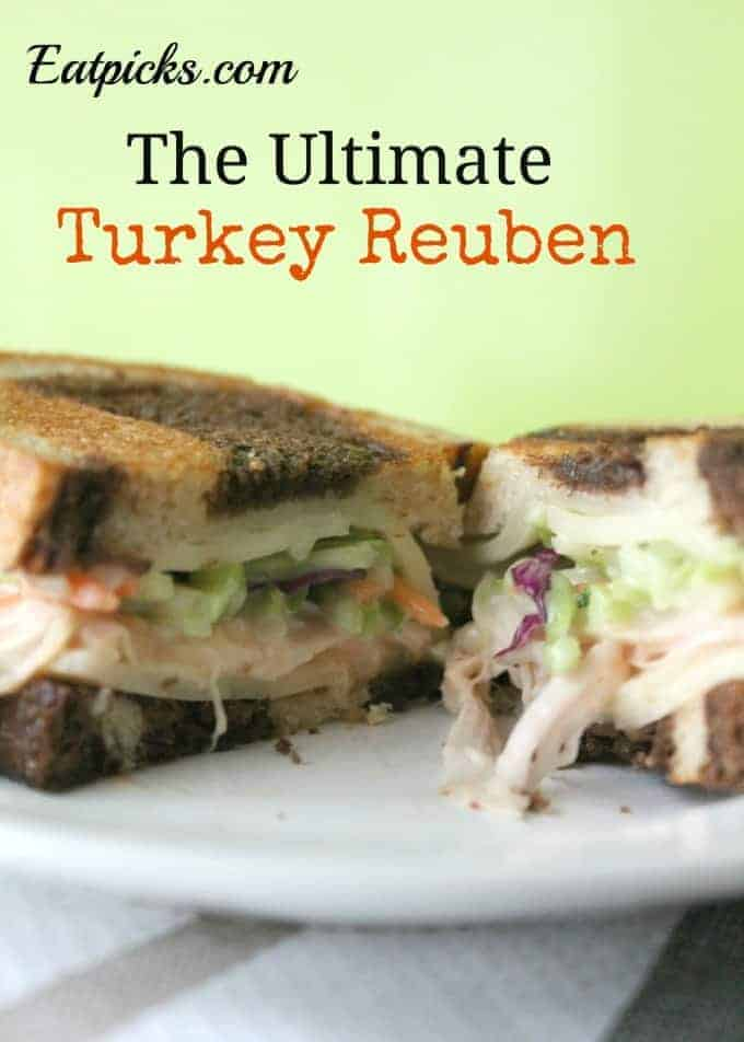 the ultimate turkey reuben full of juicy turkey, broccoli slaw, swiss cheese and toasted on marble rye bread. It's time to try a Rachel sandwich for St. Patrick's Day!