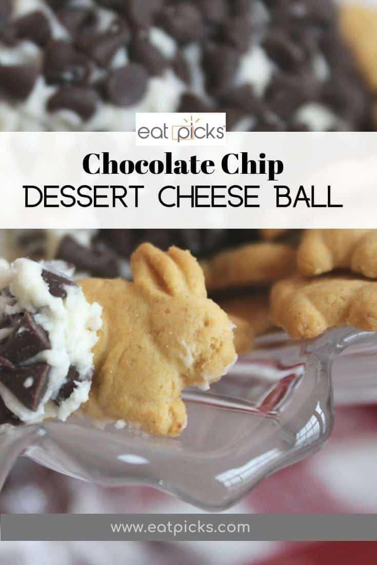 Chocolate chip dessert cheese ball with bunny graham crackers