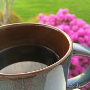 coffee cup with pink flowers