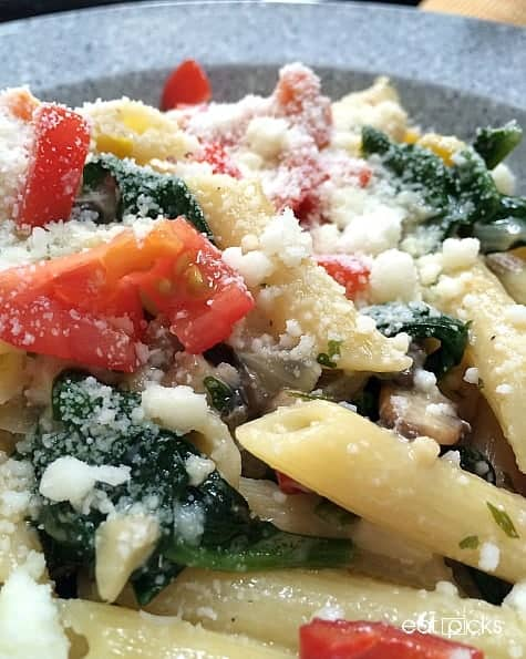 colorful vegetable pasta in bowl
