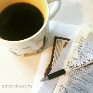 Coffee and notes eat picks