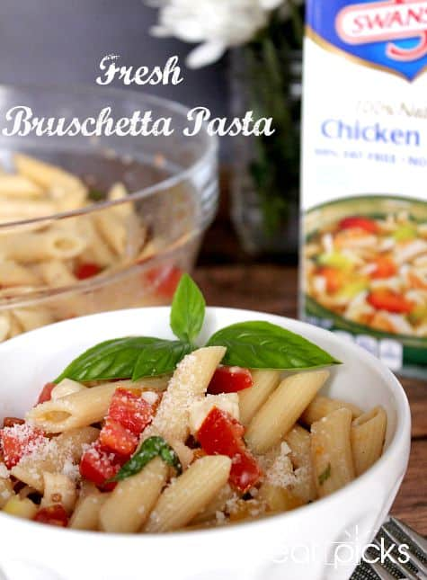 Bruschetta pasta with basil