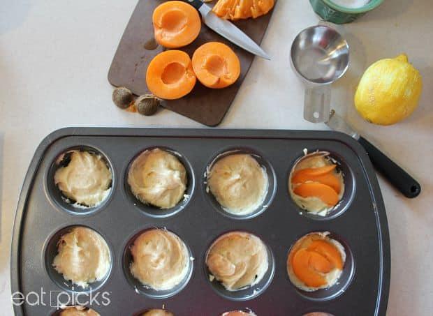apricot muffin tin cakes in pan