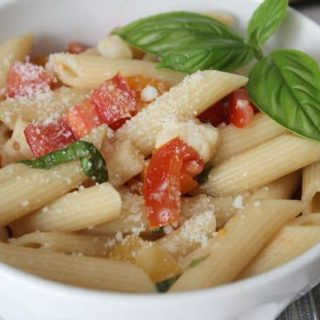 bruschetta pasta is simple and full of fresh tomatoes and basil!