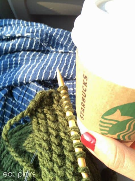 coffee and knitting needle