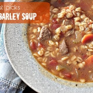 Beef Barley Soup in bowl