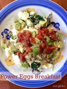 Power eggs recipe is full of egg whites, spinach, quinoa, avocado and salsa makes for a healthy, nutritious start to any day.