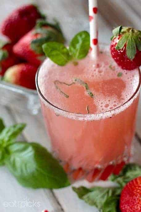 Strawberry Basil Spritzer with heart straw