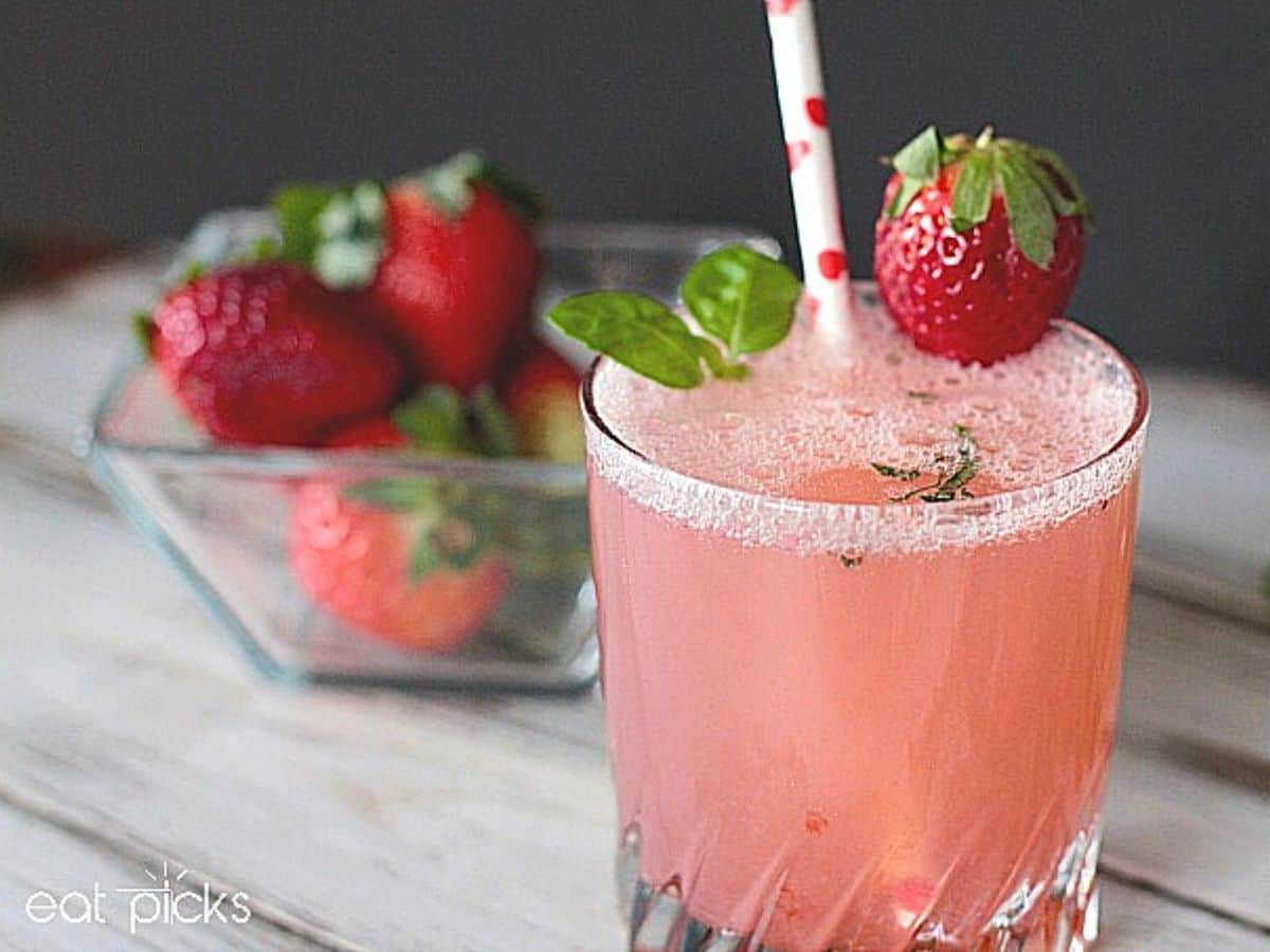strawberry basil drink in glass