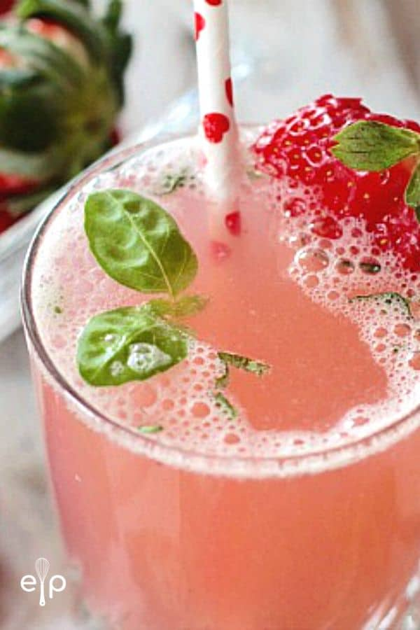 Strawberry Basil Spritzer in glass with straw