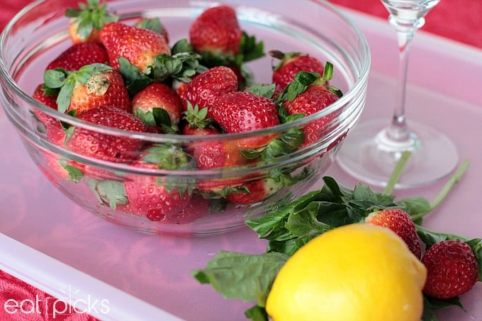 Bowl of fresh Florida Strawberries are perfect for Strawberry Basil Spritzer