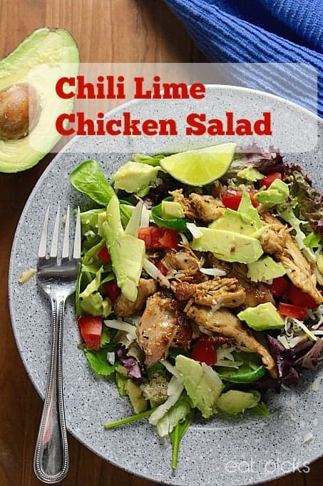 chili lime chicken thighs make the perfect topping to a healthy salad. Salty with a bit of tang along with avocado and tomato, easy lunch or dinner in under 10 minutes!