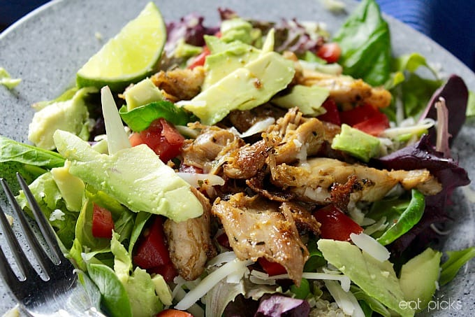 Chili Lime chicken salad with fork