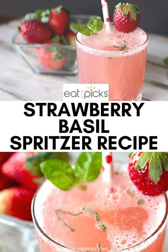 Strawberry Basil spritzer pin