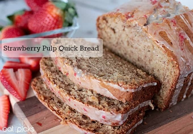 Strawberry Fruit Pulp bread recipe is a perfect way to use up left over pulp from your juicer. Adding strawberry pulp to the glaze is delicious too!