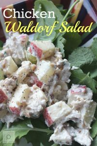 chicken Waldorf Salad is the perfect combination of sweet and savory and makes a delicious light lunch over a bunch of fresh baby kale.