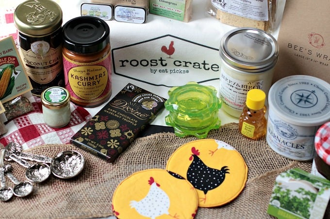 Roost Crate sample box of goodies found in monthly subscription box service! Your Farmer's Market in a box! 4-6 hand selected artisanal, homemade items delivered to your door!