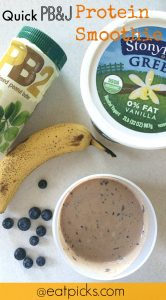 quick pb&j protein smoothie recipe has everything you need for your recovery drink or breakfast. Full of protein packed Greek Yogurt, PB2 powder and milk, add a bit of blueberries and banana and you are ready for the ultimate smoothie snack!
