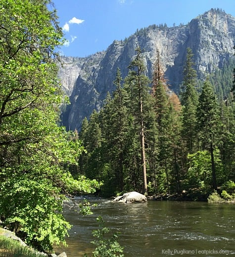 Yosemite is a hiker's paradise. The scenery is beautiful like this river below the granite rocks.