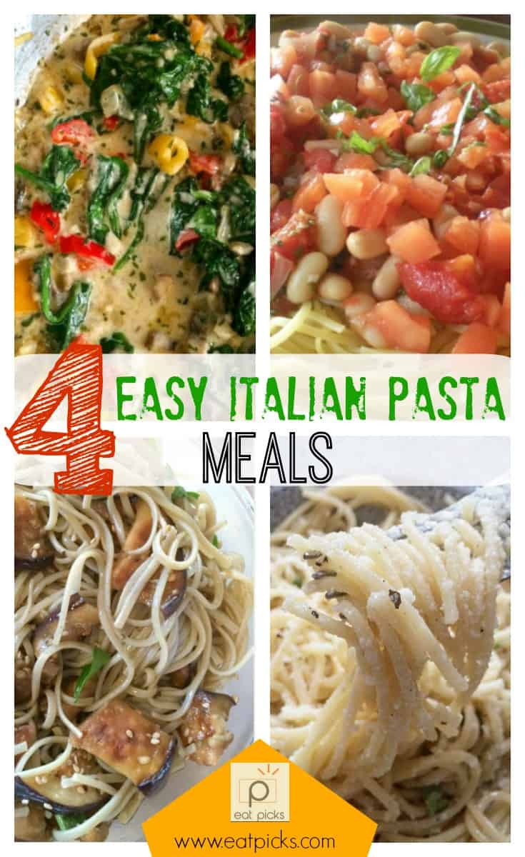 4 easy Italian Pasta Meals give you options for Sunday dinner, or make perfect additions to weekly meal plans. Full of veggies, cheese and more, try one of our favorite recipes.