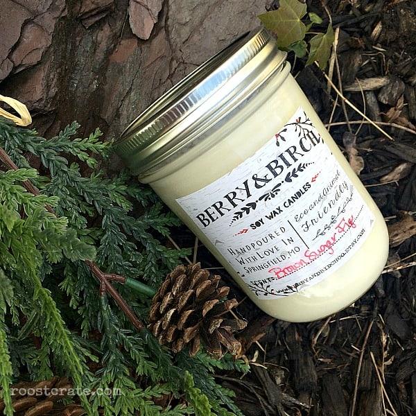 roost crate includes handmade items like this eco and animal friendly soy wax candle made by Berry and Birch