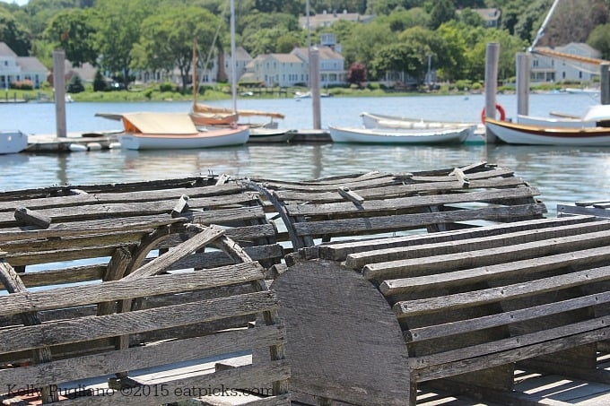 Lobster Traps in Mystic, CT line the harbor pier. A wonderful place for travel and photography.