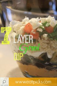 7 layer greek dip is just what you need for a snack to watch your favorite athletes compete in The Summer Olympic Games. Layers of hummus, eggplant, zucchini and feta are just a few of the wonderful flavors just waiting for your pita chips.