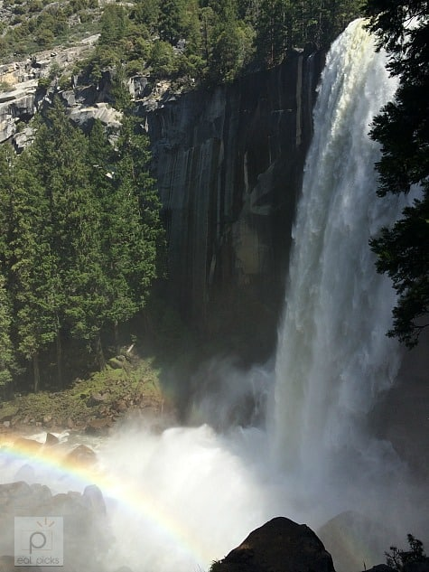 Nevada Falls with rainbow was a site to see at top of Mist Trail hike in Yosemite National Park