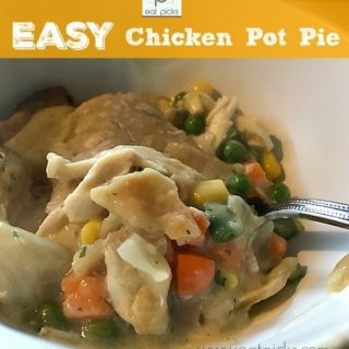 Easy Chicken Pot Pie is comfort food at its finest. Full of roasted chicken and mixed veggies, this pot pie is ready in 30 minutes but tastes like you spent hours making it!