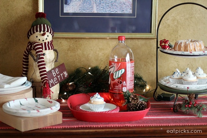 Holiday Buffet Set up with 7UP soda cupcakes and Dixie Ultra® Holiday Plates and Vanity Fair®