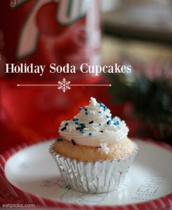 Holiday Soda Cupcakes with 7UP and Cherry 7UP creates a festive treat for holiday entertaining