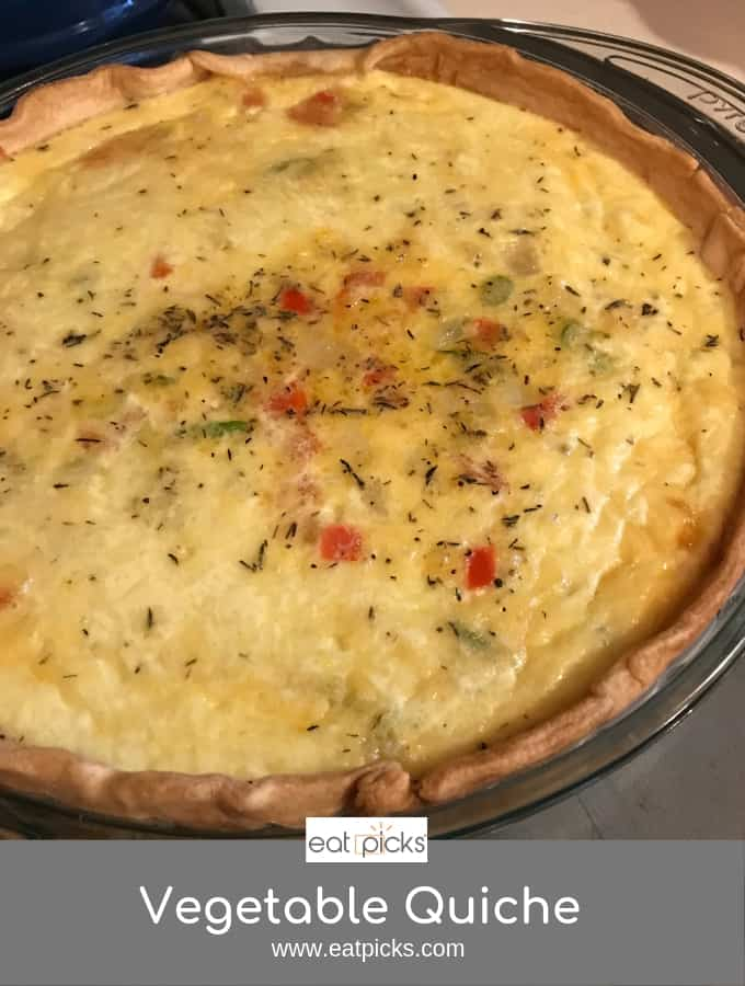 easy Vegetable Quiche baked in pie plate is perfect for brunch