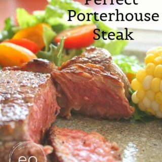 Perfect Porterhouse Steak on dinner plate