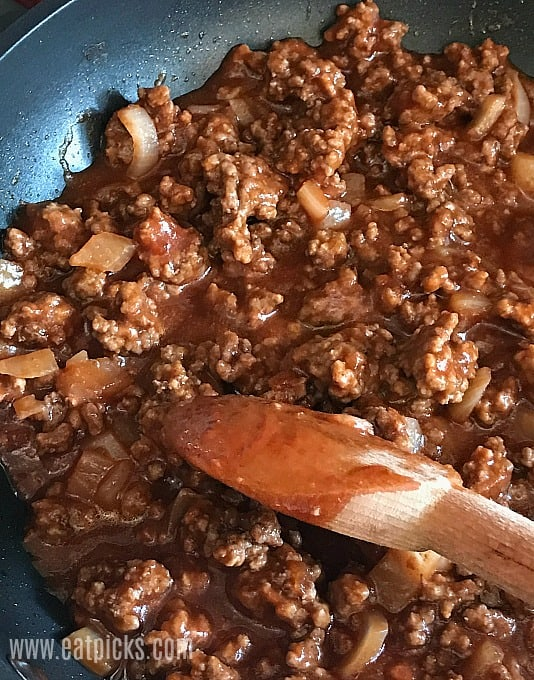 Best Sloppy Joe Mix is easy to cook in pan for juicy, tasty sauce.